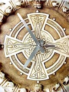 Awesome Skull & Bones Wall Clock W/ Celtic Cross