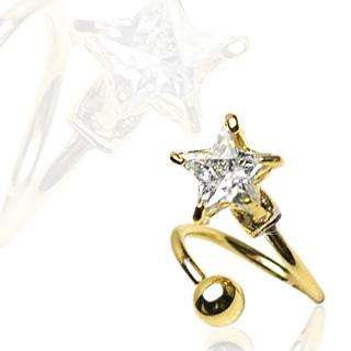 GOLD PLATED TWIST BELLY NAVEL RING STAR 7MM CZ 16G B480