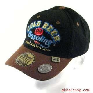 BEER OR GAS   BOTTLE CAP OPENER BLACK HUNT FISH CAP M/L