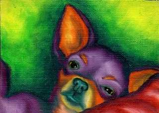 CHIHUAHUA ACEO Dog Pop Art Mini PRINT of Painting VERN