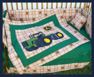 JOHN DEERE Brown Plaid Crib Bedding Set