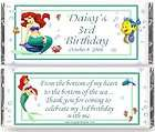 LITTLE MERMAID ARIEL personalized candy bar wrappers bi