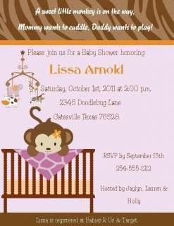 24 Cocalo Jacana Monkey in Crib Baby Shower Invitations