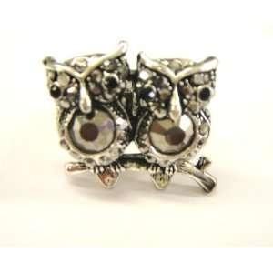 Amazing Silver Tone with Black Rhinestone Cute Double Owl Stretch Ring