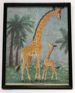 Vintage Penn Prints Giraffe Mom Baby Nursery Kids Childs Wall Art
