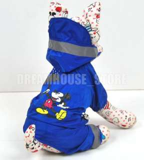 Dog Rain Coat Hoodie Hooded Mouse Coat clothes AnySz