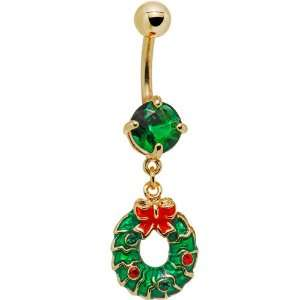 Green Gem Gold Tone Wreath Dangle Belly Ring Jewelry