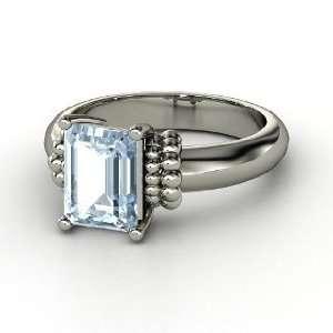Beluga Ring, Emerald Cut Aquamarine 14K White Gold Ring