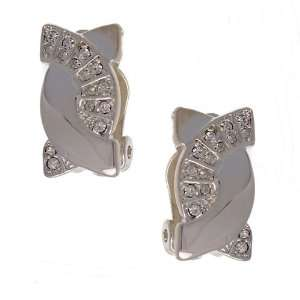 Tipi Silver Crystal Clip Earrings Jewelry