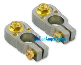 CAR STEREO POSITIVE & NEGATIVE BATTERY TERMINALS GOLD★
