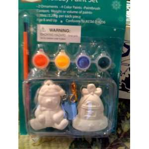 Holiday Paint Set Kit Ornamnet Make Bell Bear Kids Home