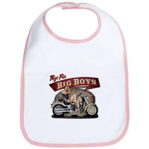 Baby Bib Petal Pink Toys for Big Boys Lady on Motorcycle