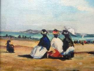 Vintage French Early Beach Scene Oil Painting Unsigned GREAT