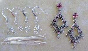 Silver Stud Post Earring Bead Finding Kit Swarovski Crystal Rose