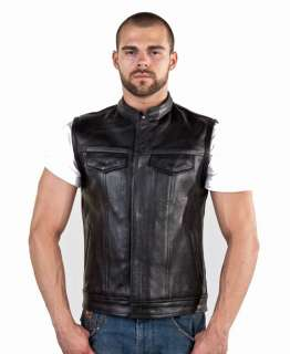 Mens Cowhide Leather Motorcycle Biker Outlaw Club Vest Gun Pocket
