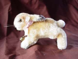 Running Rabbit Bunny Hare with Bell Ear Button Tag Vintage