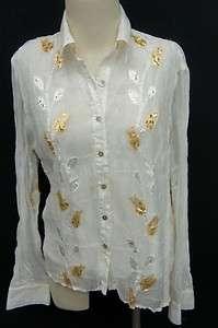 Jaipur White/Silver/Gold Long Sleeve Blouse Sz M