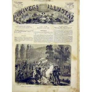 Castle Weimar Bivouac Military French Print 1866 Home