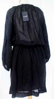 ISABEL MARANT BOHEMIAN BLACK LINEN SMOCK DRESS (2) NWT