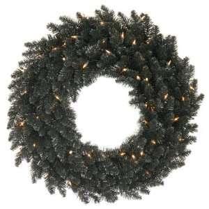 30 Pre Lit Black Ashley Spruce Christmas Wreath   Clear