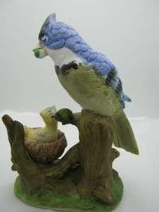 Vintage Blue Jay Nesting Baby Bird Figurine