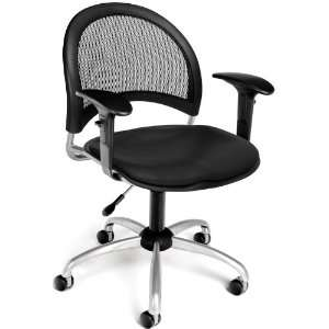 Black OFM Moon Swivel Vinyl Chair with Arms Office