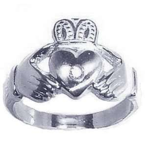 0.03Ct. Diamond White Gold Claddagh Promise Ring Jewelry
