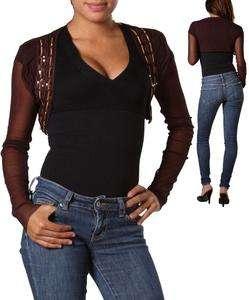 NEW PEEP STUDIO dark brown gold knit long sleeve shrug bolero top S M