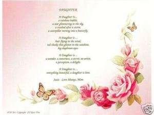 DAUGHTER Poem Rose Print Personalized Name
