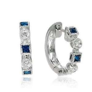 14k White Gold Princess Blue Sapphire Diamond Earrings Jewelry