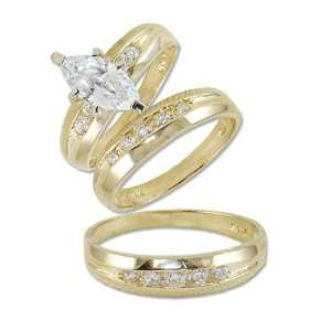 14k Yellow Gold, Trio Three Piece Wedding Ring Set Marquise Lab