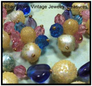 Germany Pastel Glass & Sugar Bead Gold Bib Necklace Clip Earring Set
