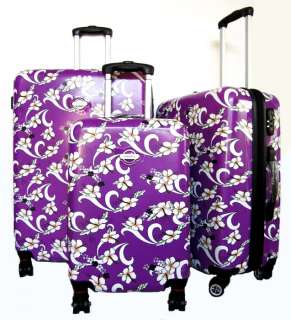 3Pc Luggage Set Hard Rolling 4 Wheels Spinner Upright Hawaiian Floral