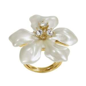 Pearl Ring Flower with Crystal Center Kenneth Jay Lane Jewelry