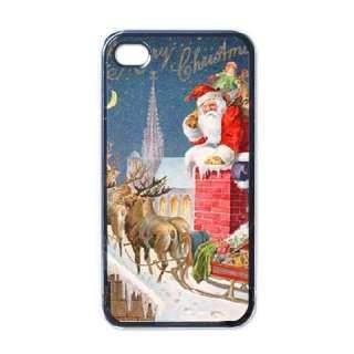 Merry Christmas Santa Claus Greetings Black Case for iphone 4 Reindeer