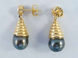 14KY GOLD TAHITIAN PEARL/DIAMOND NECKLACE/EARRING SET