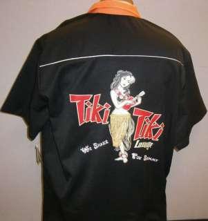 Heavywght Rayon TIKI TIKI LOUNGE sewn Black/Orange Swingmaster SHARP
