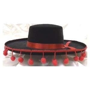 Black Felt SPANISH Hat w/ Red Pom Poms Costume OLE