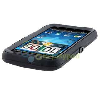 Black Double Layer Case+Car+AC Charger+Privacy LCD For HTC Inspire 4G