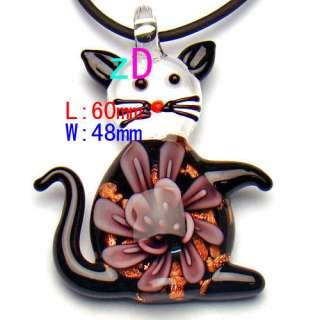 g291 Multi Color Flower Black Cat Murano Lampwork Glass Pendant