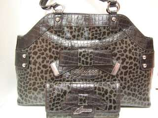 GUESS BLACK Grey Leopard Animal Print BRICKEN Satchel Tote Handbag Lg