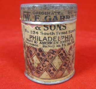 1916 Scotch Snuff Can Box W F Garrett & Sons Philadelphia PA Tax Stamp
