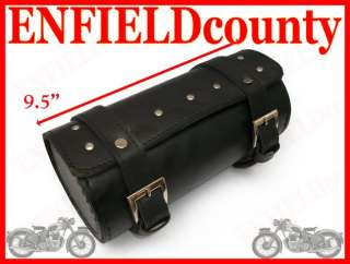 ROYAL ENFIELD BLACK STUDDED LEATHERITE TOOL BAG ROLL