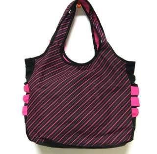 New Hello Kitty Black Star Strip Pink Sequin Bow Large Tote Bag