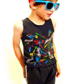 Faded black vintage tank top has a Rock & Roll print with classic