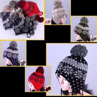 Cute Earflap BEANIE pom Knit Crochet Nordic Winter Cap Women Black Red