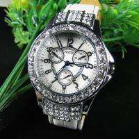 Bling Crystal New Womens White Leather Strap Watch