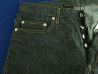 DIOR HOMME Dark Wash Waxed Classic Navy Blue Button Fly JEANS 33 x 33