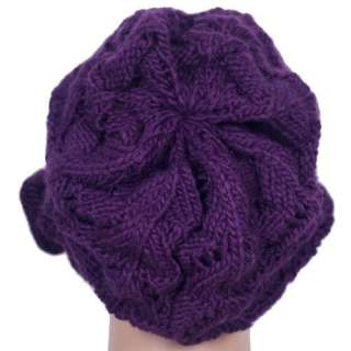 New Stylish Bow Purple Knitted Brim Beanie Visor Cap Hat #H28