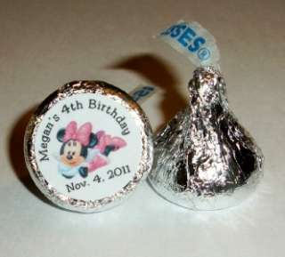 216 MINNIE MOUSE BIRTHDAY PARTY FAVORS HERSHEY KISS LABELS